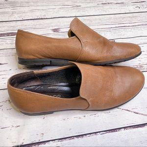 Aldo Leather Loafers Camel Flat Slip On Shoes